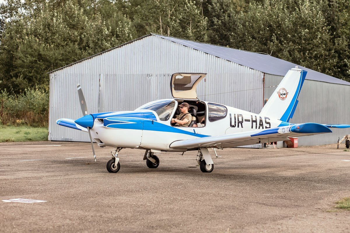 Полет на самолете над Олесским Замком на четырех